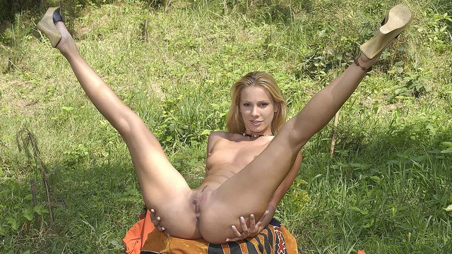 Forest frolicking in the nude!