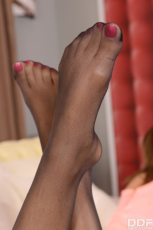 Foot fuck nylon