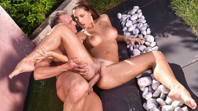 Outside Shower And A Big Tit Fuck Is Satin Bloom'S Favourite Combination