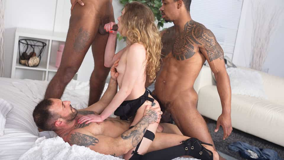 Can Petite Angel Emily take 2 BBCs and Her Husband's Rod at Once?!?
