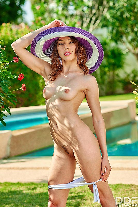 Solo Garden Seduction: Mistress Reveals her Trimmed Pussy #5