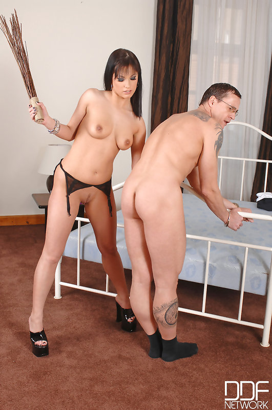 Bound guy strap-on toying girl ass #1
