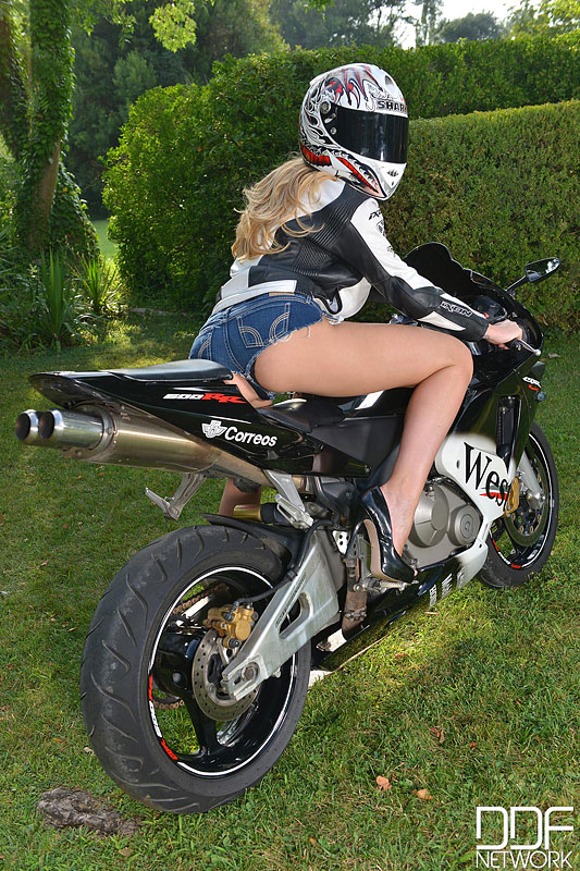 Busty Blonde Strips and Goes Doggy Style Atop Motorcycle #1