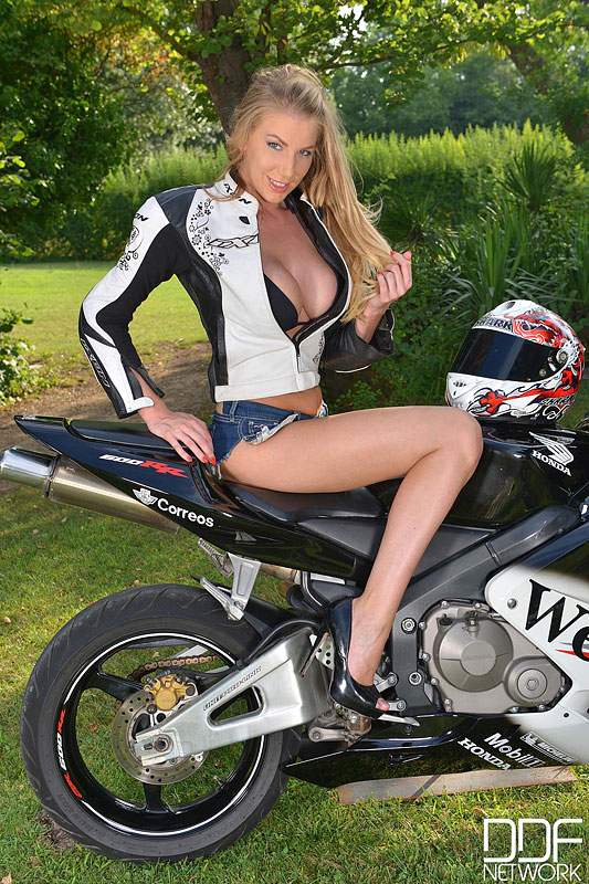 Busty Blonde Strips and Goes Doggy Style Atop Motorcycle #2