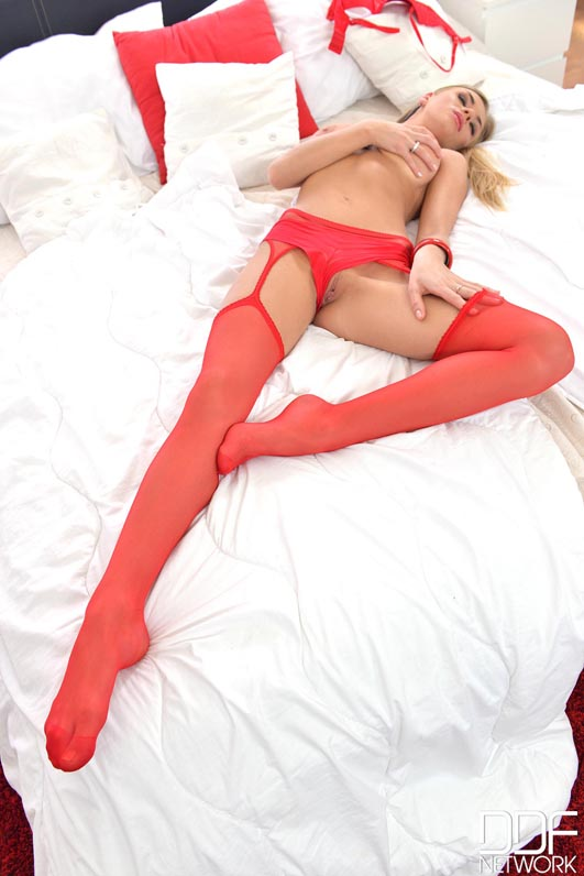 Leggy Latvian Teases With G-String and Stockings in Bedroom  #7