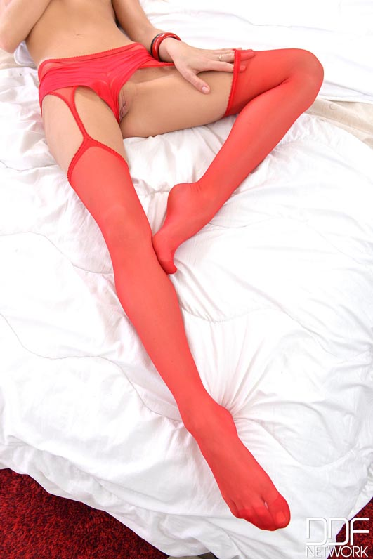 Leggy Latvian Teases With G-String and Stockings in Bedroom  #8