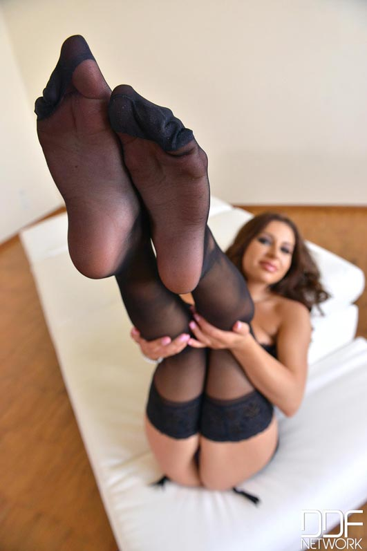 Russian Nylon Stocking Girl Teases With Sheer Soles #10