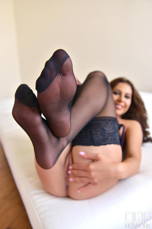 Russian Nylon Stocking Girl Teases With Sheer Soles #11