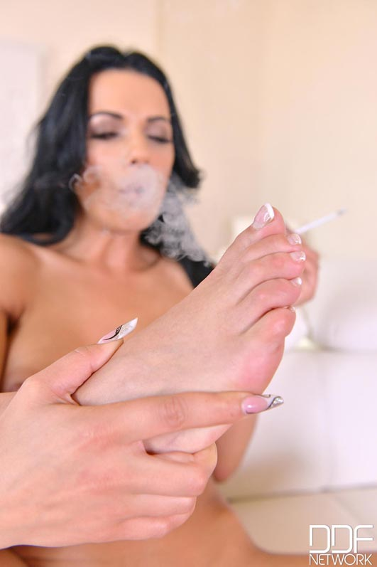Hot Legs And Cigarettes - Foot Fetish Romanian Bombshell Goes Naked #12