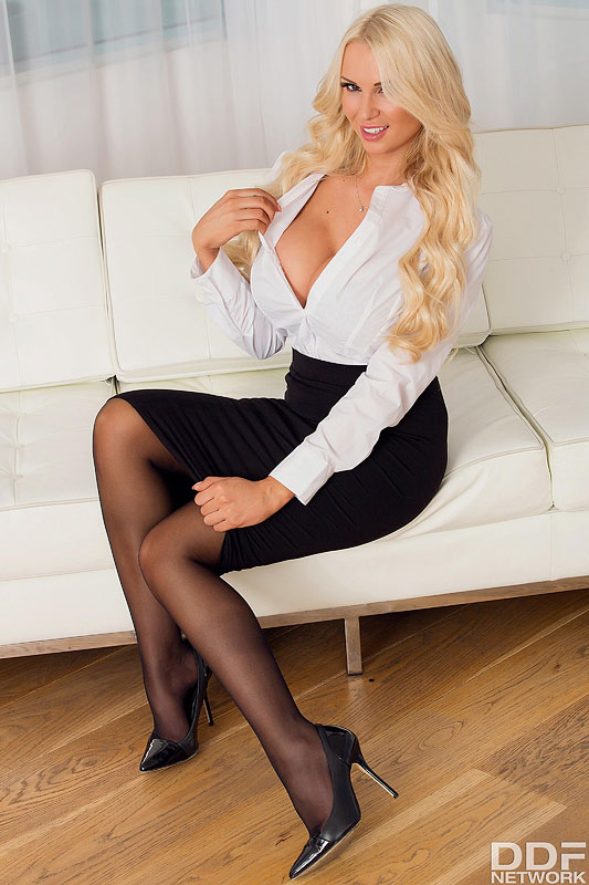 Striptease Appeal - Blonde Busts Out of Her Blouse #1