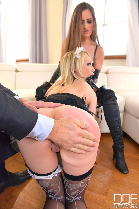 Russian Busty Domina's Private Giant Strap-on Fuck Trio, Part 1 #8