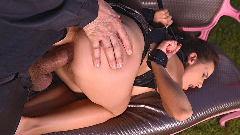 Anal Insertion Game - Master Crams Her Mouth With Glass Dildo
