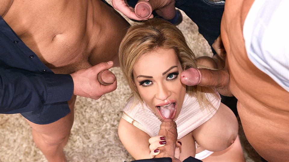 Fantastic Five: Busty Blonde Babe Enjoys Multidick Sucking