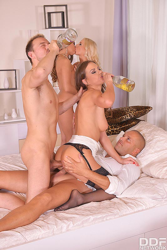 Hardcore Orgy On NYE: Guzzling Bubbly Through Tight Pussies! #12