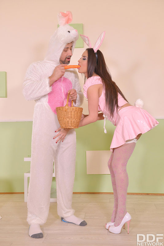Like Rabbits: Hot Couple Fucks on Bed Wearing Bunny Costumes #5