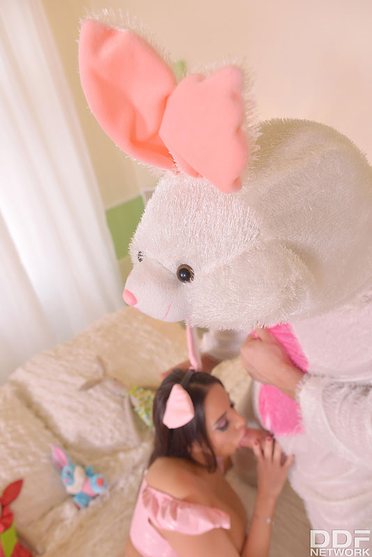 Like Rabbits: Hot Couple Fucks on Bed Wearing Bunny Costumes #9
