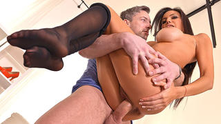 Taste Of Pantyhose: Nylon Lover Cums On Latina's Sexy Feet