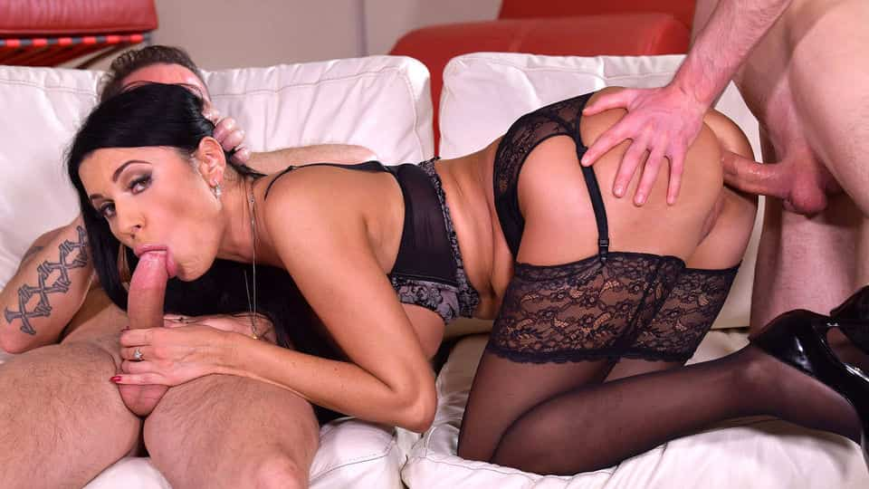 Kinky Ania Kinski Gets DP'd by Father & Son's Cocks