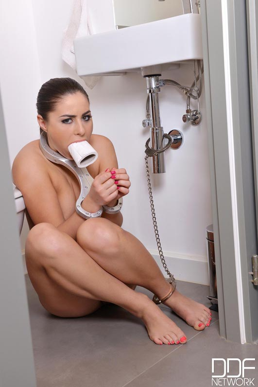 Submissive Golden Shower - Brunette Babe Banged in Handcuffs #1