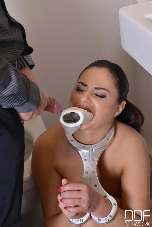Submissive Golden Shower - Brunette Babe Banged in Handcuffs #2