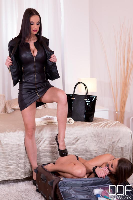Hotel Dominatrix: Brunette Sub Gets Anus Stuffed With Black Dildo #1