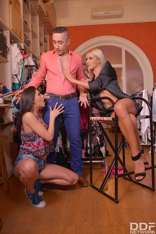 Horny in The Backstage Room: 2 Curvy Babes Blow 1 Hard Dick #5