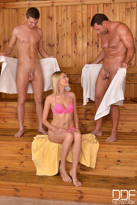 image Wife threesome in sauna with friend