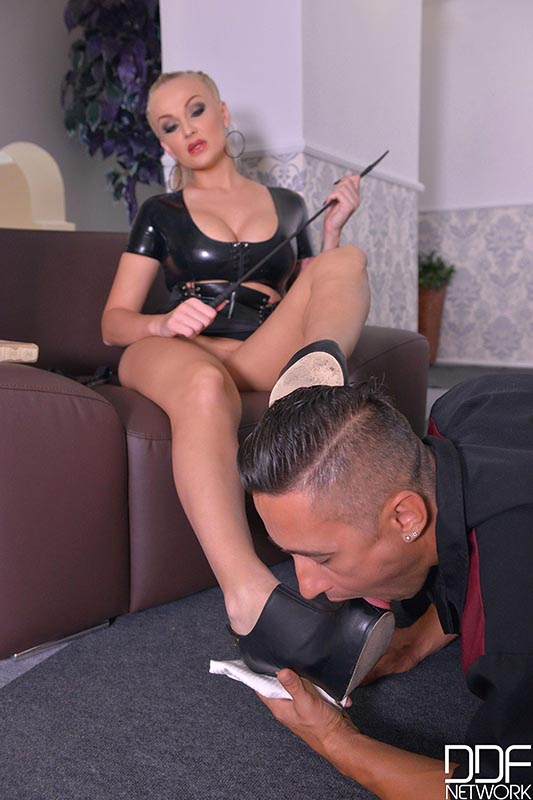 Hallway Fucking - Mistress Spanks His Butt And Gets Her Ass Banged #1