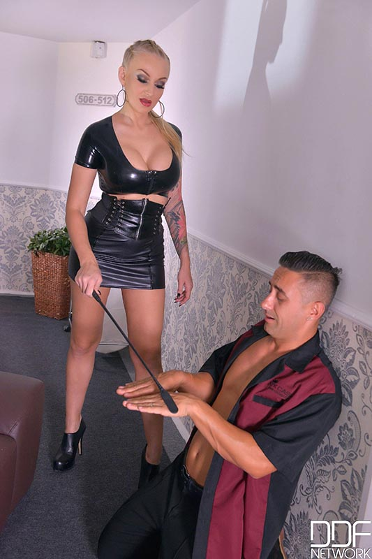 Hallway Fucking - Mistress Spanks His Butt And Gets Her Ass Banged #2