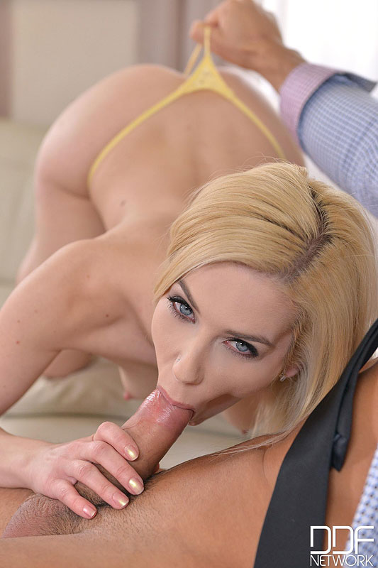 Blonde Babe Threesome: Salesman Gets Blowjobs and Anal Sex #8