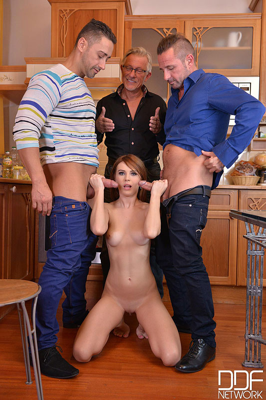 Three Cocks In A Twat - Hot Foursome With Young Glamour Babe #8