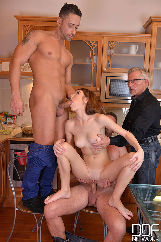 Three Cocks In A Twat - Hot Foursome With Young Glamour Babe #9
