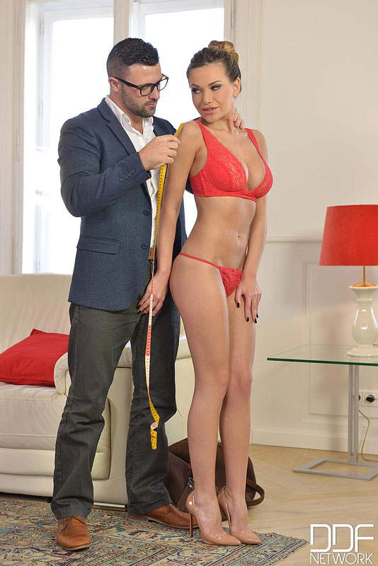 The Tailor's Lucky Day - Hot Glamour Babe Seduces Horny Stud #5
