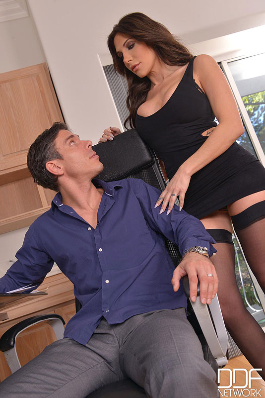 Office Stud - Brunette With Big Tits Pleases Hard Working Husband #5
