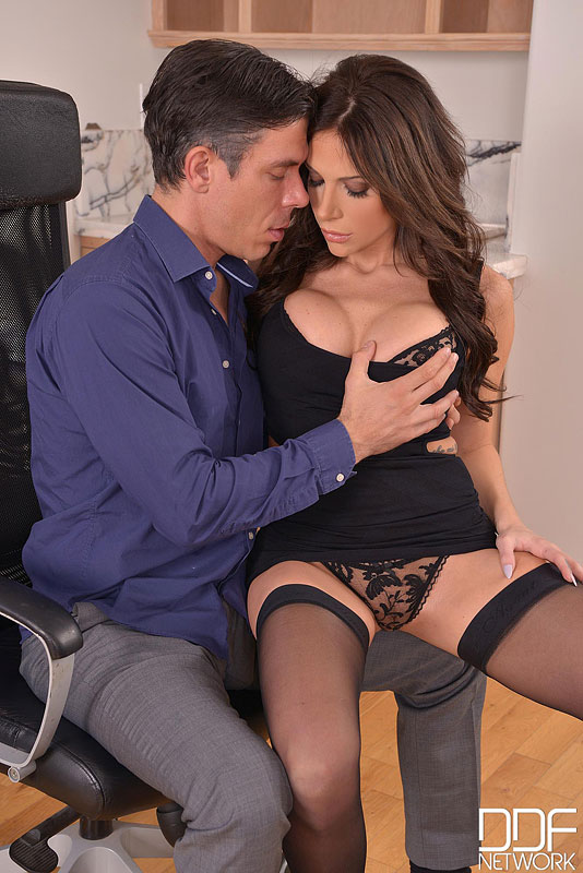 Office Stud - Brunette With Big Tits Pleases Hard Working Husband #6