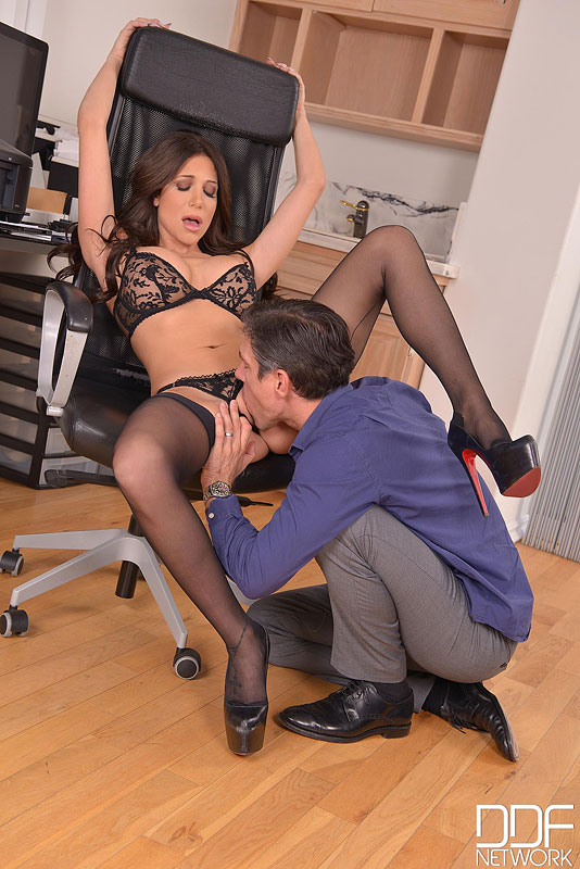 Office Stud - Brunette With Big Tits Pleases Hard Working Husband #8