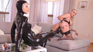 Latex Licking - Lesbians Cram Their Pussies With Sexy Toes