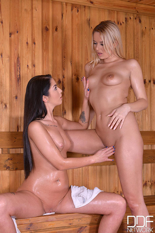 Sexy and Steamy in the Sauna - Lesbians Probe at their Pinks #4