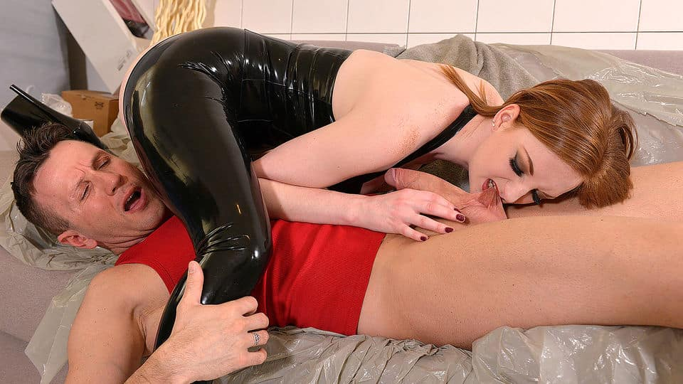 Lazy Craftsman - Red-Haired Dominatrix Humiliates Tiler