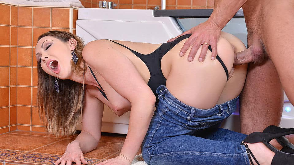 Can't Leave Without Cum - Hot Milf Banged in Bathroom